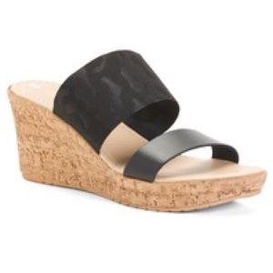 BAHIA SAB black wide band platform wedge sandals